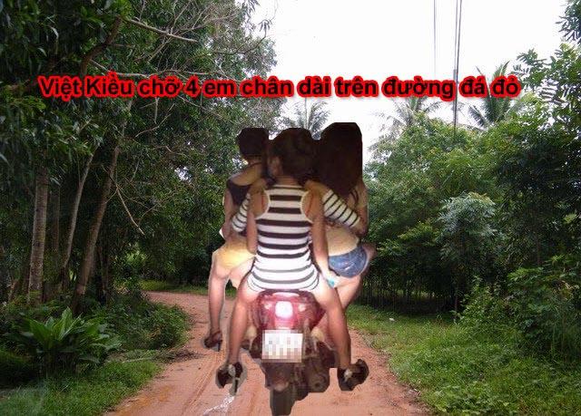Việt Kiều chỡ 4 chân dài trên đường đá đỏ