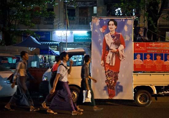 Chan dung thu lanh doi lap Aung San Suu Kyi