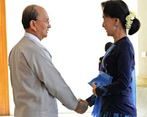 Tong thong Thein Sein va ba Aung San Suu Kyi