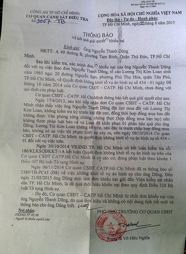 Một trong những thông báo của cơ quan CSĐT Công an TP.HCM gửi đến ông Dũng