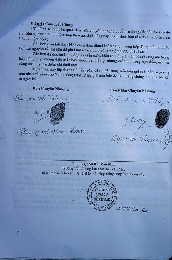 Việc mua bán giữa ông Dũng và bà Loan có sự chứng kiến của Luật sư Bùi Văn Mạc