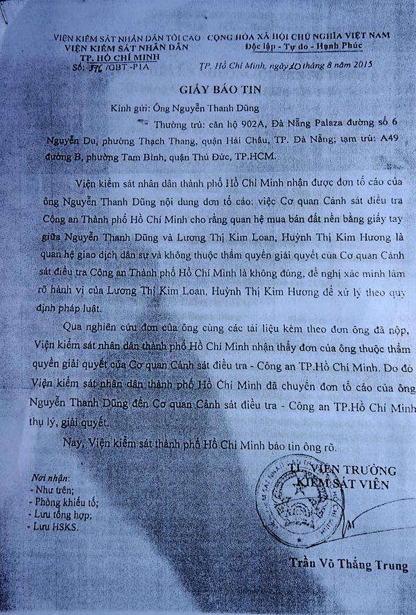 Viện KSND TP.HCM nhận định kết quả điều tra, xác minh của cơ quan CSĐT Công an TP.HCM về vụ khiếu nại của ông Dũng là chưa thỏa đáng